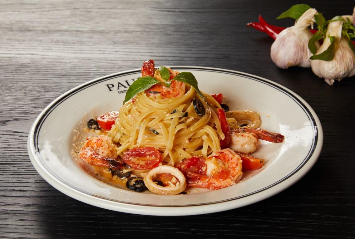 鮮蝦蒜香白酒義大利麵(微辣) Linguini with shrimp and white wine